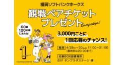 福岡ソフトバンクホークス観戦ペアチケットプレゼント / キャナルゴールデン誕生祭