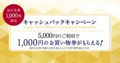 5,000円買うと1,000円のお買い物券がもらえる!キャッシュバックキャンペーン